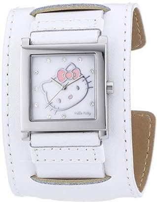 Hello Kitty Girls Quartz Watch with White Dial Analogue Display and Gold Leather Hyuga 1774–141 HK