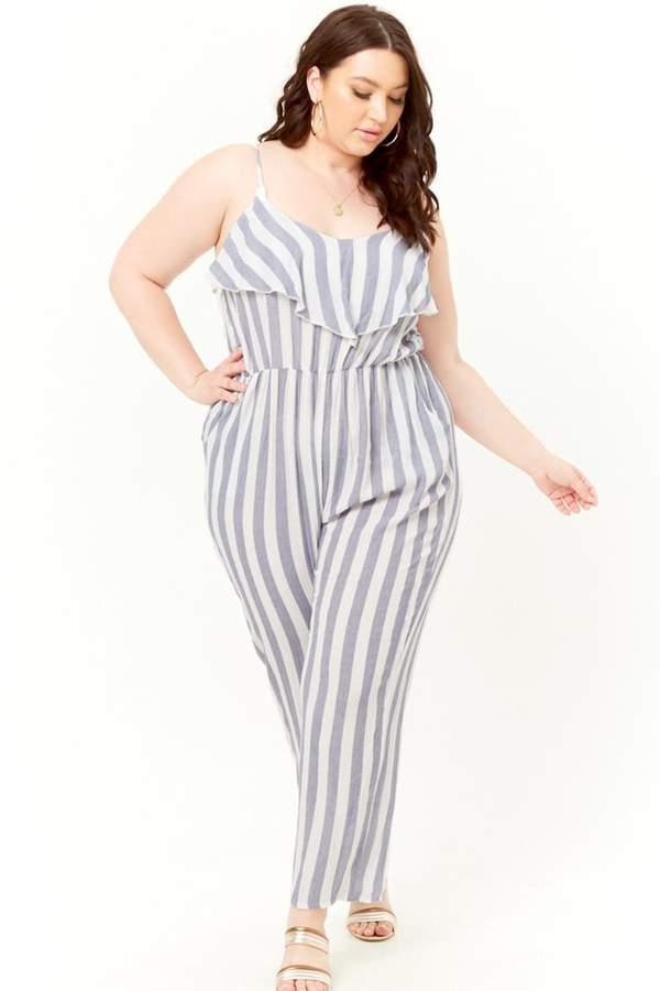 Plus Size Striped Flounce Jumpsuit