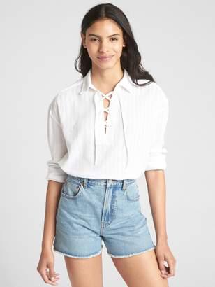 Gap Lace-Up Shirred Stripe Shirt