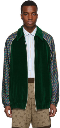 Gucci Green Chenille Zip-Up Sweater