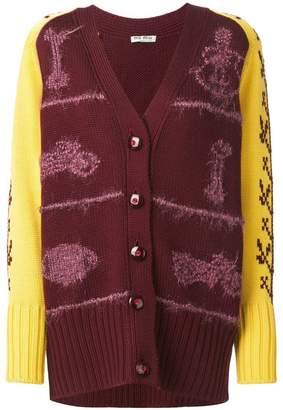 Miu Miu patterned sleeves chunky cardigan