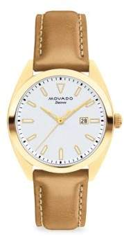 Movado Heritage Datron Yellow Goldplated Stainless Steel& Leather Strap Watch