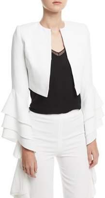 Alice + Olivia Presley Open-Front Ruffle-Sleeve Short Silk Blazer