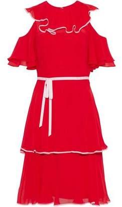 Mikael Aghal Cold-Shoulder Ruffled Chiffon Dress