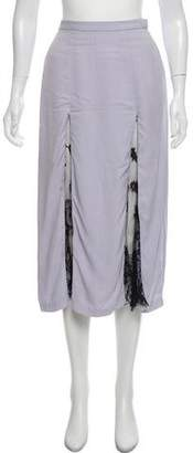 Wes Gordon Lace-Trimmed Midi Skirt