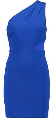 Halston One-Shoulder Paneled Ponte Mini Dress