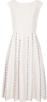 Bottega Veneta - Pleated Embroidered Linen And Cotton-blend Midi Dress - Ecru $2,200 thestylecure.com