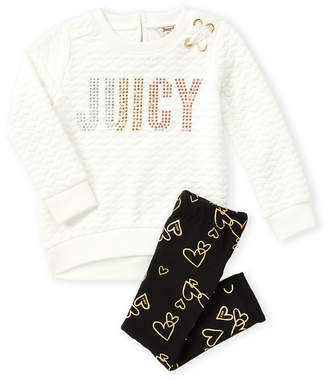 Juicy Couture Infant Girls) Two-Piece Quilted Sweatshirt & Foil Heart Leggings Set