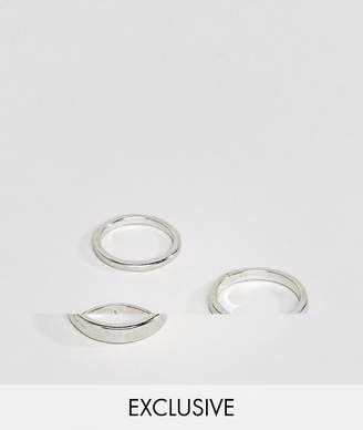 DesignB London DesignB Gunmetal & Rose Gold Engraved Band Rings In 2 Pack Exclusive To ASOS - Silver FDCaHUMat