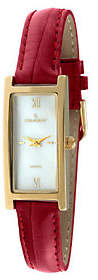 Peugeot Ladies Goldtone Red Leather Strap Watch