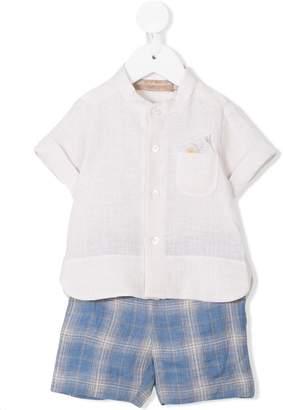 La Stupenderia plain shirt and checked shorts set