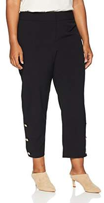 Nine West Women's Plus Size Stretch Slim Pant with Button Ankle Detail