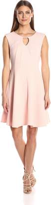 Sandra Darren Women's 1 Pc Extended Shoulder Solid Knit Fit and Flare Key Hole Dress