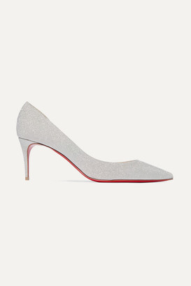 Christian Louboutin Iriza 70 Glittered Leather Pumps - Silver