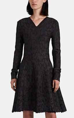 Zac Posen Women's Metallic Leopard-Pattern Fit & Flare Dress - Dark Gray