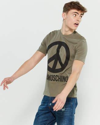 Love Moschino Peace Sign Crew Neck Tee