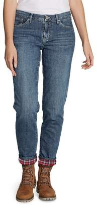 Eddie Bauer Women's Boyfriend Flannel-Lined Jeans, Dusted Indigo Regular 6