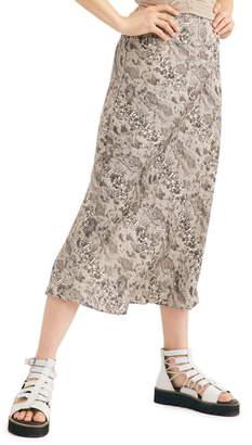 Free People Normani Leopard Print Bias Cut Midi Skirt