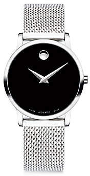 Movado Women's Museum Classic Black Dial, Stainless Steel Mesh Bracelet Watch