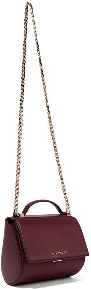 Givenchy - Pandora Box Shoulder Bag In Burgundy Textured-leather