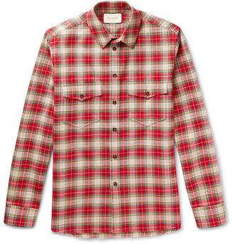 Gucci Embroidered Checked Cotton-Twill Shirt