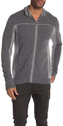 Autumn Cashmere Piped Trim Two Tone Cashmere Track Jacket