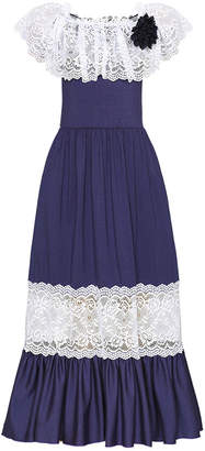Mia Belle Girls Off The Shoulder Ruffle Lace Maxi Dress