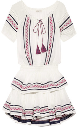 LoveShackFancy - Poppy Embroidered Cotton-voile Mini Dress - White $325 thestylecure.com