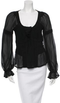 La Perla Silk Long Sleeve Top $85 thestylecure.com