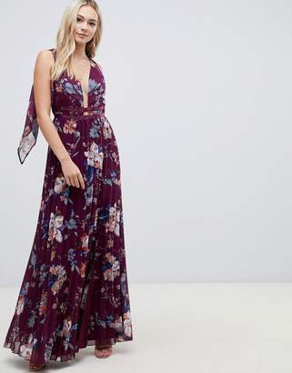 Asos DESIGN pleated maxi with tape detail in winter floral print
