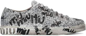 Miu Miu silver logo graffiti glitter leather sneakers