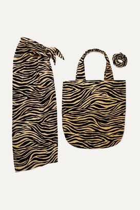 Faithfull The Brand Tiger-print Cotton Pareo, Tote And Hair Tie Set - Zebra print