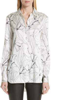 St. John Artisanal Floral Stretch Silk Blouse