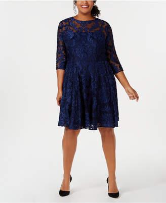 Betsy & Adam Plus Size Burnout Damask Fit & Flare Dress