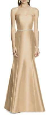 Alfred Sung Full-Length Strapless Twill Dress