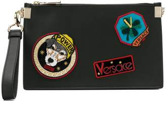 Versace patch zipped pouch