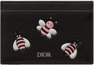 Christian Dior Card Holder x Kaws With Pink Bees Black