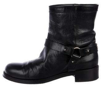 Jimmy Choo Leather Round-Toe Ankle Boots Black Leather Round-Toe Ankle Boots