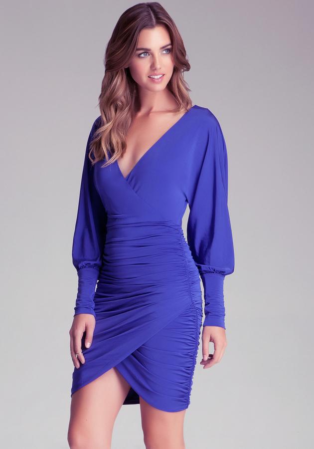 Bebe Dolman Sleeve Draped Dress
