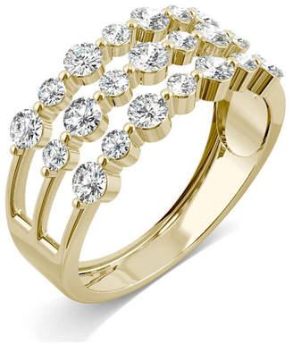 Charles & Colvard Moissanite Three Row Fashion Band 9/10 ct. t.w. Diamond Equivalent in 14k Yellow Gold
