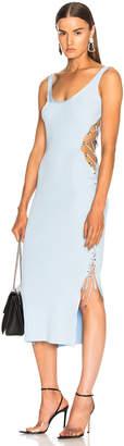 Thierry Mugler Side Lace Up Midi Dress