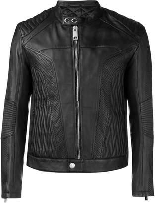 Les Hommes embossed leather jacket