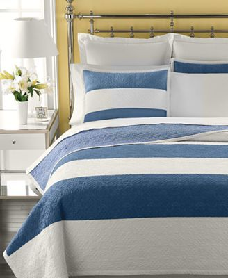 CLOSEOUT! Martha Stewart Collection Bedding, Bandeau Stripe Quilt Collection