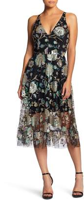 Dress the Population Audrey Sequin Embroidered Midi Dress