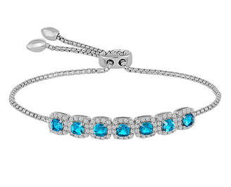 FINE JEWELRY Rhythm And Muse Sterling Silver Genuine Blue Topaz & Lab Created White Sapphire Bracelet