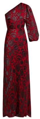 Saloni Lily Budapest Asymmetric Floral Devore Gown - Womens - Red Multi