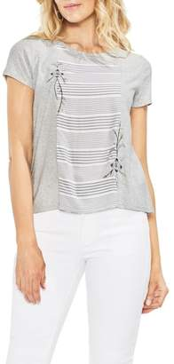 Vince Camuto Embroidered Stripe Panel Cotton Tee