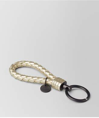 Bottega Veneta Platino Intrecciato Gros Grain Key Ring