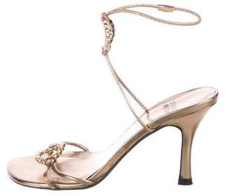 Stuart Weitzman Metallic Leather Embellished Strap Sandals