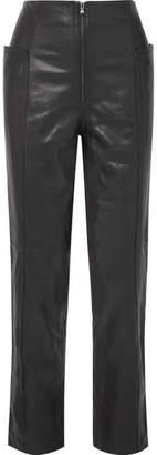 Tibi Leather Straight-leg Pants - Black